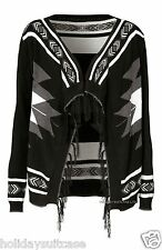 NEW LADIES WOMANS AZTEC TRIBAL WINTER BLACK CARDIGAN WRAP PLUS SIZE 10-24 UK