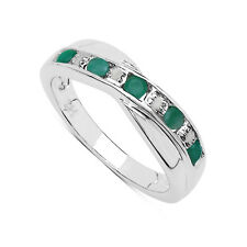 STERLING SILVER EMERALD & DIAMOND CHANNEL SET ETERNITY RING SIZE I-W ANNIVERSARY