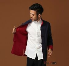 Chinese Men's Kung Fu Jacket Reversible Two-Face Linen Coat Men's Cotton Outerwe