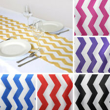 "10 TABLE RUNNERS 12x108"" CHEVRON SATIN Party Wedding Catering Linens"