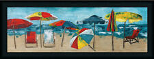 At the Beach 12x36 Colorful Vibrant Beach Umbrella Art Print Framed Picture