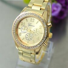 Geneva Women's Bracelet Stainless Steel Crystal Dial Analog Quartz Wrist Watch #