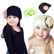 Girl Kid Toddler Baby Handmade Crochet Knit Flower Hat Cap Beanie Photo Prop US