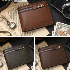 Men's Leather ID credit Card holder Clutch Bifold Coin Purse Wallet Pockets Gift
