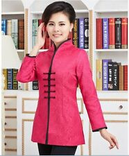 Chinese Women's silk long jacket /coat Cheongsam red Sz: 8 10 12 14 16
