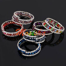 1pc Colorful Crystal Glass Faceted Abacus Beads Wrap Cuff Bangle Bracelet Gift