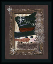 Families Are Forever 20x16 Country Folk Art Snowflake Snowman Framed Art Picture