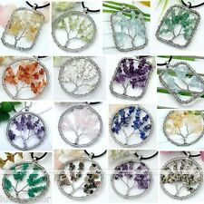 Handmade Gemstone Colors Chip Wire Wrap Tree Of Life Bead Pendant For Necklace