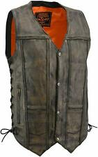 MENS MOTORCYCLE 10 POCKET DISTRESSED BROWN LEATHER VEST SIDE LACES - SA41