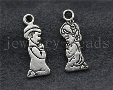 New 10/50/300pcs Antique Silver Prayer Angel Girls and Boys Charm Pendant 18x7mm