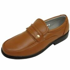 MENS TAN SLIP-ON WORK WEDDING SMART CASUAL COMFY LOAFER SHOES SIZES 7-12