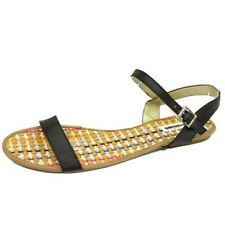 LADIES BLACK FLAT STRAPPY GLADIATOR SUMMER SANDALS FLIP-FLOP SHOES SIZES 3-9