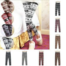 Womens Xmas Snowflake Reindeer Knitted Cotton Pants Trousers Leggings Fashion