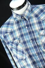 Mens AEROPOSTALE Size Large Western Pearl Snap Slim Fit Blue Plaid L/S Shirt