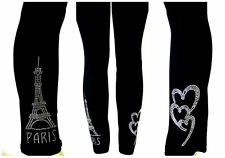 REGULAR SIZE LEGGINGS CLEAR CRYSTAL RHINESTONE LOVE PARIS EIFFEL TOWER