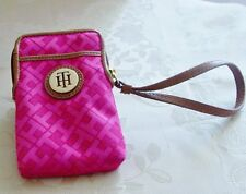 NEW TOMMY HILFIGER $48  Pink Wristlet/Phone/Wallet Logo & TH Gold Zipper Top
