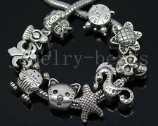 New 10/100pcs Antique Silver Bulk Lots big hole Beads DIY European Charms Beads