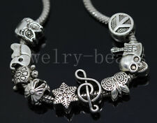 New 10/100pcs Antique Silver Bulk Lots big hole European Jewelry Charms Beads