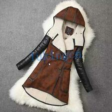 Fashion Womens Suede Coat Leather Lamb Wool Jacket Hooded Thicken Parka Overcoat