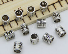 New 30/100/500pcs Antique Silver cylindrical Beads Charms Spacer Beads DIY 7x6mm