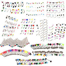 20PCS MIXED EYEBROW TONGUE NOSE NAVEL BELLY BUTTON STUDS BODY PIERCING EXPRESSIV