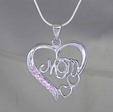 Sterling Silver MOM Heart with 925 Snake Chain
