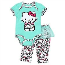 Hello Kitty Mint Green Embroidered Creeper W/Tutu Leggings:Size 0/3, 3/6, & 6/9