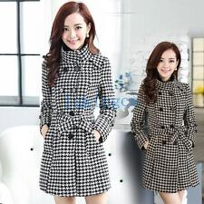 British womens wool blend parka Double brested checks belted trench coat outwear
