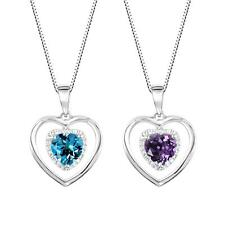 "Sterling Silver 925 Heart Shaped Gemstone Pendant with 18"" Box Chain"