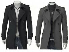 New Fashion Men's Wool Coat Winter Trench Coat Outwear Overcoat Long Jacket ML