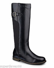 LADIES LEGROOM BLACK LEATHER HIGH LEG CURVY CALF BOOTS UK SIZE 4 EEE WIDE FIT