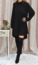 """""""Esther"""" Balloon Sleeves Black Tie Neck Pussy Bow Shirt Dress Boutique 8-18"""