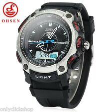 OHSEN AD1209 Men's Sports Digital Analog Quartz Wrist Watch Week Stopwatch Gift
