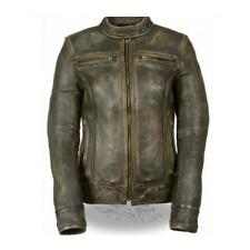 WOMENS PREMIUM COWHIDE LEATHER DISTRESSED BROWN VENTED MOTORCYCLE JACKET - SA48