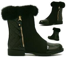 WOMENS BLACK QUILTED FUR CUFF LINED WINTER SNOW ANKLE BOOTS SIZE 3-8