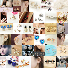 Women Gold Silver Plated Pearl Crystal Rhinestone Hook Stud Clip Earring Jewelry