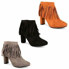 Womens Ladies Faux Suede High Heel Tassel Fringe Zip Up Ankle Boots Shoes Size
