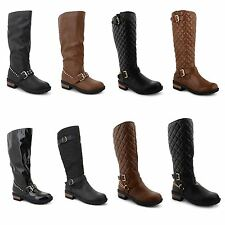 Womens Ladies Low Heel Flat Winter Quilted Riding Zip Calf Knee Boots Shoes Size