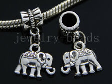 6/30/100pcs Tibetan Silver elephant Bulk Lots Dangle Charms Bracelet Craft DIY