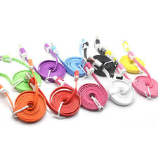 For android iPhone 5S 6/Plus 3FT Flat Noodle USB Sync Data Charger Cable Cord SX