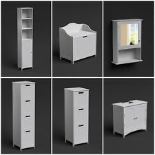 FREE STANDING WALL WHITE BATHROOM STORAGE CABINET UNIT SHELF SHELVING