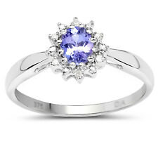 SMALL 9CT WHITE GOLD TANZANITE & DIAMOND ENGAGEMENT RING SIZE L-S  MOTHERS GIFT