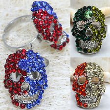 1X Punk Adjustable Mixed Colors Rhinestone Skull Head Finger Ring US 7 Jewelry