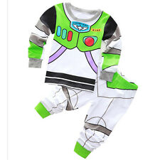 Buzz Lightyear Cotton Pajama Set Kids Baby Boys Sleepwear T-shirt+Pants Outfits