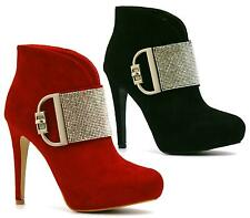 NEW LADIES STILETTO HIGH HEEL PLATFORM DIAMANTE BUCKLE SEXY ANKLE BOOTS SHOE 3-8