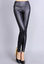Fashion Lace Up Back Trousers Sexy Skinny Stretch Womens Pants Leather Leggings