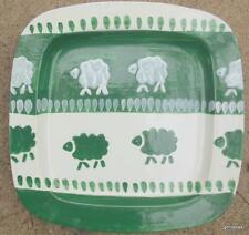 "Serving Tray / Platter Green & White Hand Painted Sheep 16"" SQ Italy La Gloconda"