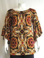 New Women's Plus Size Black Mustard Floral Tunic (Top) Sizes 1X 2X 3X Made USA