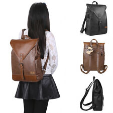 "Women's Vintage Classic Casual PU Leather Bag School Travel 14"" Laptop Backpack"