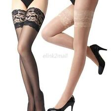 Sexy Women Ultrathin Lace Top Sheer Thigh High Silk Stockings Socks 6 Colors E51